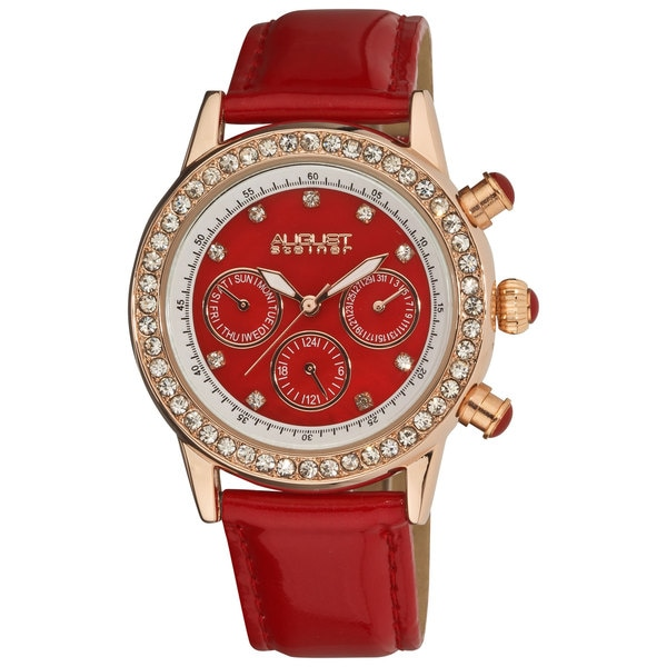 Red August Steiner Women's Multifunction Dazzling Strap Watch