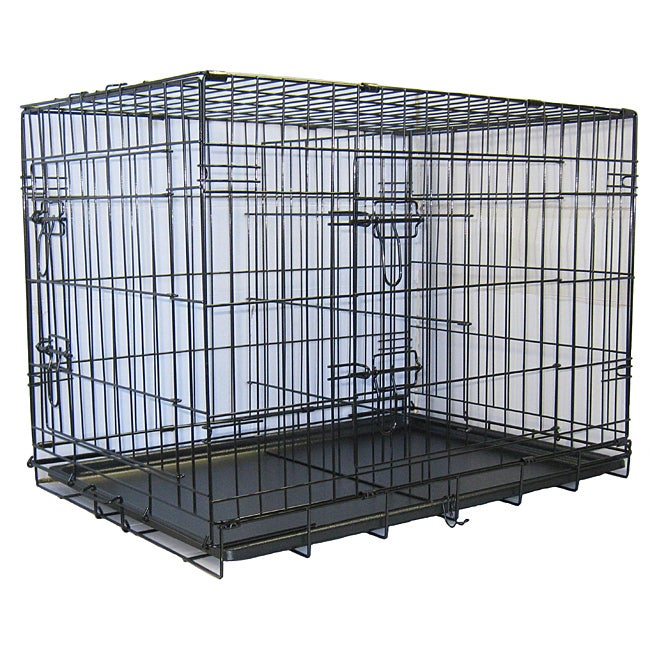 GoPetClub 42-inch 2-Door Metal Folding Dog Crate w/ Divider