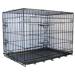 GoPetClub 30-inch 2-Door Metal Folding Dog Crate w/ Divider