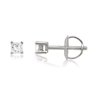 10k White Gold 1/5ct TDW Princess-cut Diamond Stud Earrings (I-J, I1-I2)