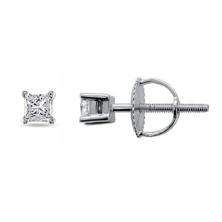 14k White Gold 1/5ct TDW Princess-cut Diamond Stud Earrings (G-H, I1)