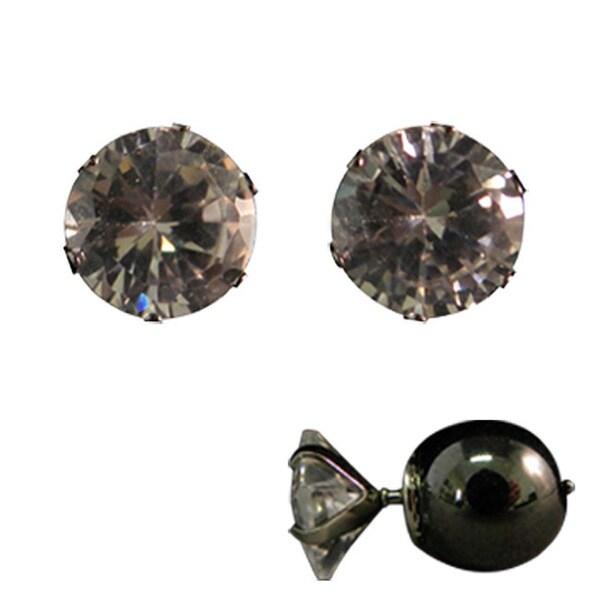Magnetic Round Cubic Zirconia Stud Earrings
