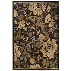"Contemporary Brown Floral Rug (5' x 7'6"")"