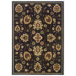 Indoor Dark Brown Floral Rug (5' x 7'6)