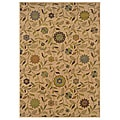 Indoor Gold Floral Casual Rug (5' x 7'6)