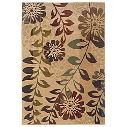 Indoor Gold Floral Rug (3'2 x 5'5)