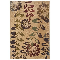 Indoor Gold Floral Rug (5' x 7'6)