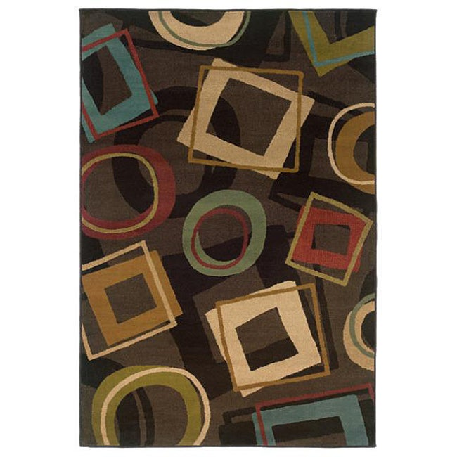 Indoor Brown Abstract Rug (5' x 7'6)