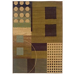 Indoor Brown/ Multi Geometric Rug (5' x 7'6)