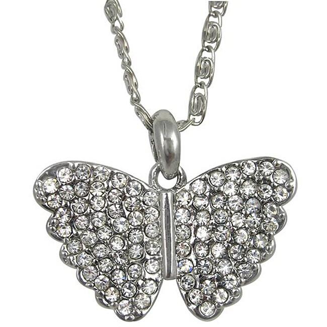 Silvertone Crystal Butterfly Necklace