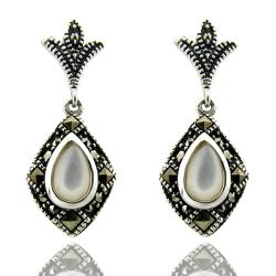 Dolce Giavonna Sterling Silver Marcasite and Mother of Pearl Drop Earrings