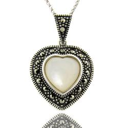 Dolce Giavonna Sterling Silver Marcasite and Mother of Pearl Heart Necklace