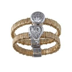 La Preciosa Goldplated Silver 'Threaded' CZ Heart and Circle Ring