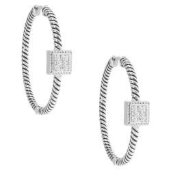 Sterling Silver 1/8ct TDW Diamond Hoop Earrings (H-I, I3)