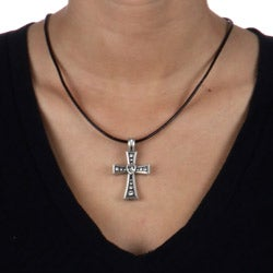 Bico Australia Pewter Crystal Heart Cross Necklace