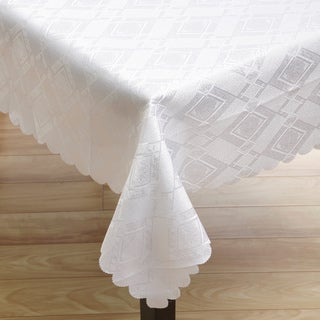 White Argyle 57x119-inch Linen Tablecloth