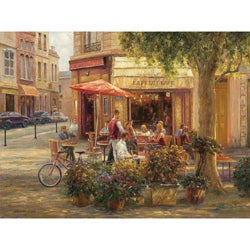 Haixia Liu 'Cafe Corner, Paris' Gallery-wrapped Canvas Art