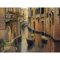 Haixia Liu 'Golden Evening Gondola' Gallery-wrapped Canvas Art