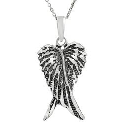 Tressa Sterling Silver Oxidized Angel Wings Necklace