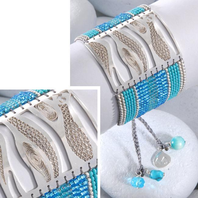 Sterling Silver Waves Beaded Bracelet (Colombia)