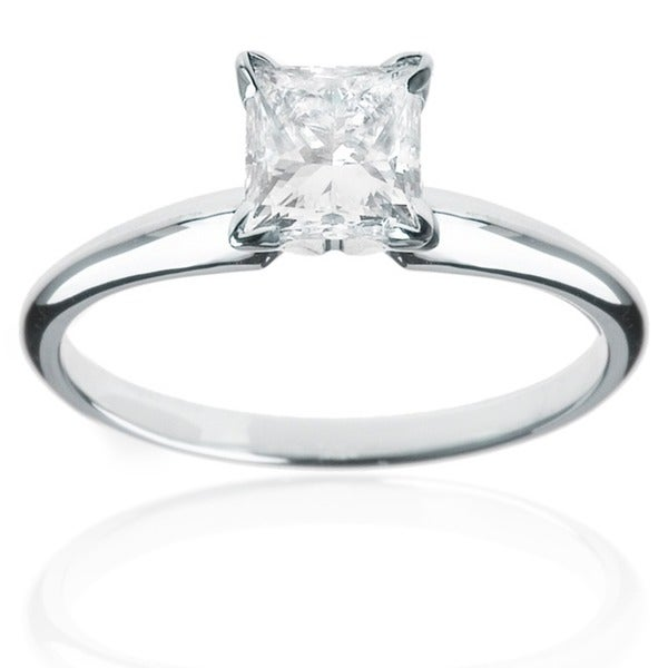 Montebello 14k White Gold 1/4ct TDW Princess Cut Diamond Solitaire Ring (H-I, I1-I2)