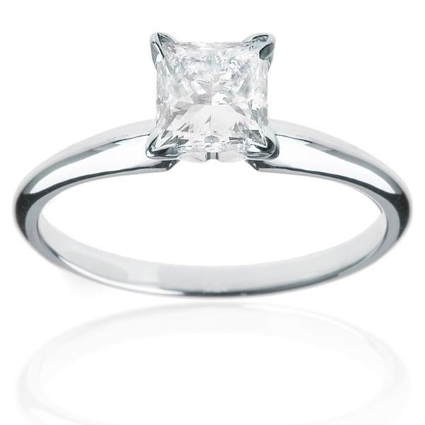 Montebello 14k White Gold 1/4ct TDW Princess Cut Diamond Solitaire Ring (H-I, I1-I2)