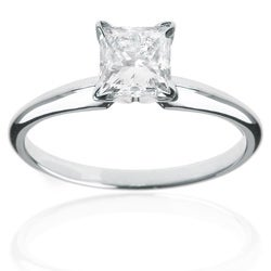 14k White Gold 1/2ct TDW Diamond Solitaire Engagement Ring (H-I, I1-I2)