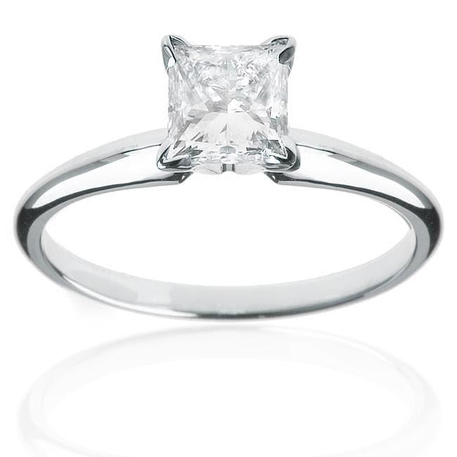 14k White Gold 1/2ct TDW Princess-cut Diamond Solitaire Engagement Ring (H-I, I1-I2)