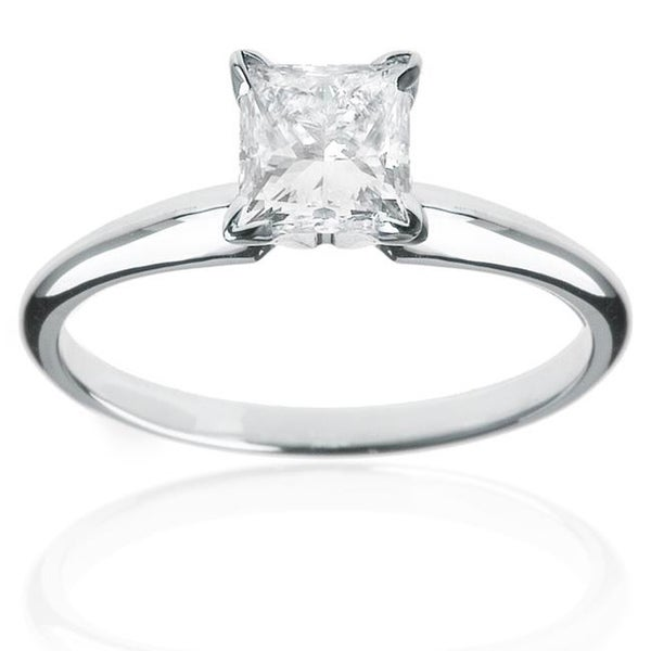 Montebello 14k White Gold 1/2ct TDW Princess-cut Diamond Solitaire Engagement Ring (H-I, I1-I2)