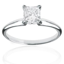 14k White Gold 1ct TDW Certified Diamond Princess Solitaire Engagement Ring (H-I, I1-I2)