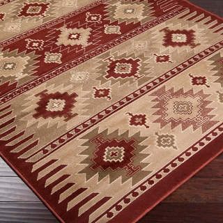 Loomed Free-form Red Rug (5'3 x 7'6)
