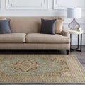 Free-form Seafoam Classic Border Rug