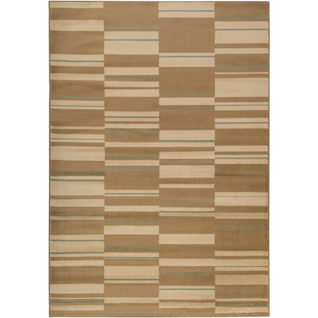Meticulously Woven Contemporary Free-form Tan Geometric Squares Rug (7'9 x 11'2)