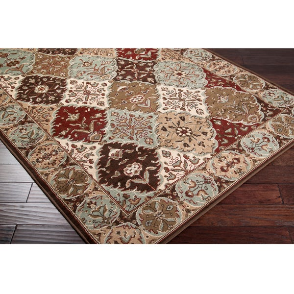 Loomed Free-form Chocolate Geometric Rug (5'3 X 7'6