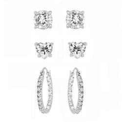 Icz Stonez Sterling Silver Cubic Zirconia 3-piece Earring Set