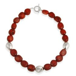 Glitzy Rocks Sterling Silver Sea Bamboo Coral Toggle Necklace