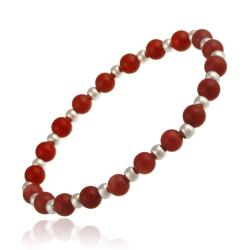 Glitzy Rocks Sterling Silver Sea Bamboo Coral Stretch Bracelet