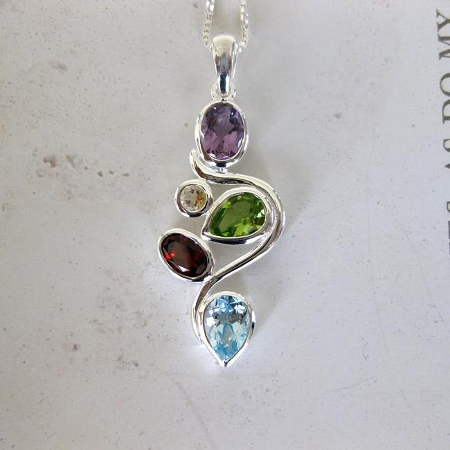Sterling Silver Colorful Multi Gemstones Necklace (Thailand)