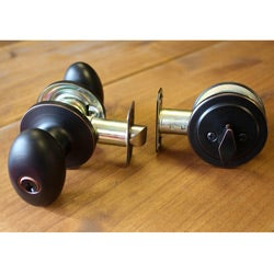 Sure-Loc Egg-shaped Vintage Bronze Deadbolt and Door Knob