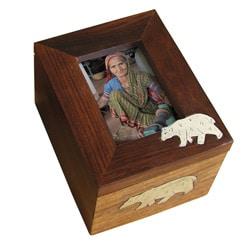 Wooden Polar Bear Photo Frame Box (India)