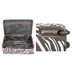 Rockland Designer Pink Zebra 4-piece Luggage Set