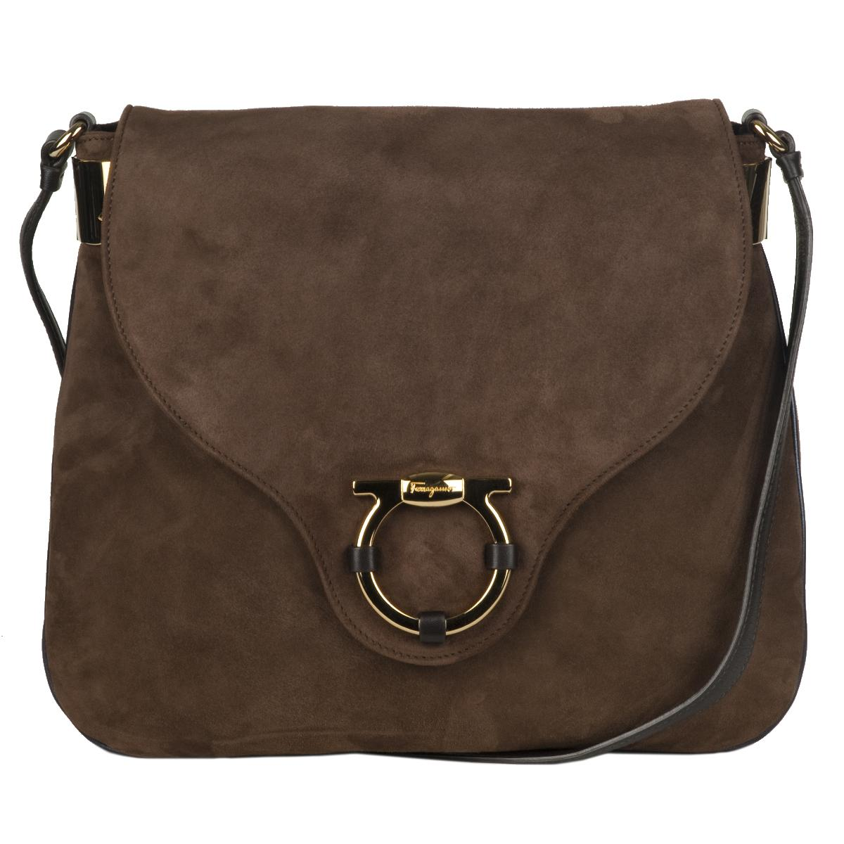 Salvatore Ferragamo Suede Brown Messenger Bag