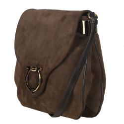 Salvatore Ferragamo Suede Brown Messenger Bag
