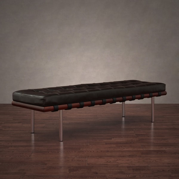 Andalucia Large Dark Brown Leather Bench