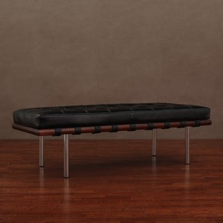 Andalucia Black Leather Bench
