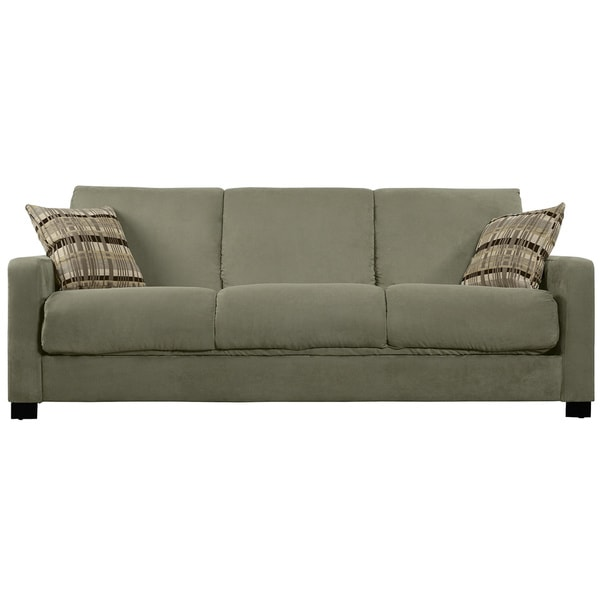 Queen sofa bed sectional - Portfolio Trace Convert A Couch Sage Grey Microfiber Futon Sofa