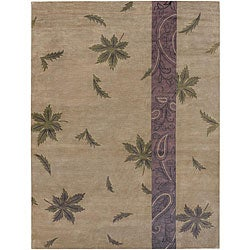 Hand-knotted Brown Floral Neoteric Semi-Worsted New Zealand Wool Rug (9' x 13')