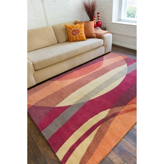 Hand-tufted Contemporary Multi Colored Stripe Motley New Zealand Wool Abstract Rug (5' x 8')