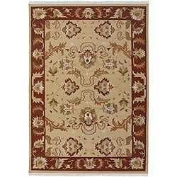 Hand-woven Beige Southwestern Migrant New Zealand Wool Rug (9' x 13')