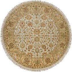 Hand-knotted Amaranthine Beige Wool Rug (8' Round)